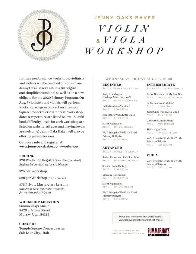 PAID AD: Jenny Oaks Baker Violin & Viola Workshop
