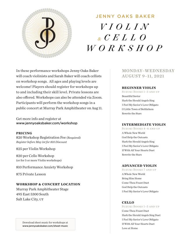 PAID AD: Jenny Oaks Baker Violin & Cello Workshop 2021