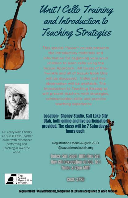 TRAINING: Cello Book 1 + Strategies Sept/Oct 2021